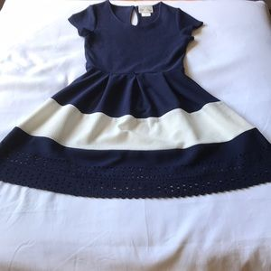 Girls size 12 navy and white dress